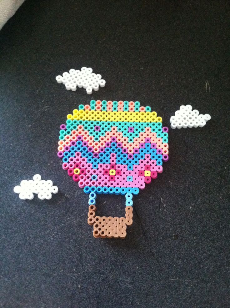 Perler Bead hot air balloon with clouds. By Allison Mohesky