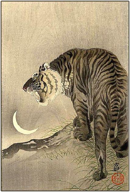 """Roaring Tiger, Crescent Moon"" (c1910-23) by Koson Ohara / Ohara Shoson by Plum leaves, via Flickr: Japanese Art, Japan Paintings, Japan Art, Roaring Tigers, Ohara Shoson, Ohara Case, Crescents Moon, Plum Leaves, Koson Ohara"