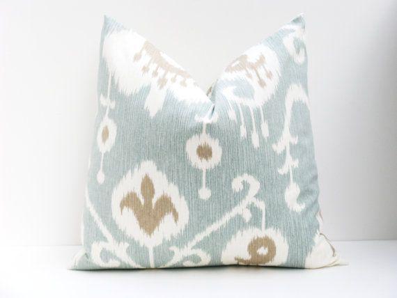 Spa Blue Pillow Aqua Blue Pillow 20 x 20 Pillow  Ikat pillow 20x20   Decorative Throw Pillows Printed fabric both sides