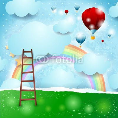 Fantasy landscape with hot air balloons  #vector #stockimage