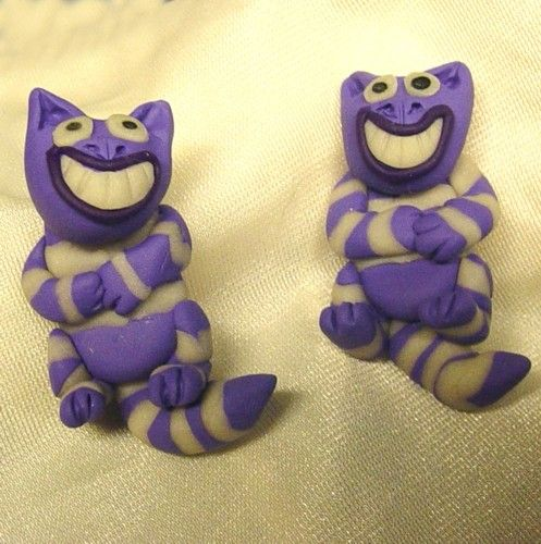 Handmade Glow in the Dark  Alice in Wonderland Cheshire Cat earrings | CreativeCritters - Jewelry on ArtFire
