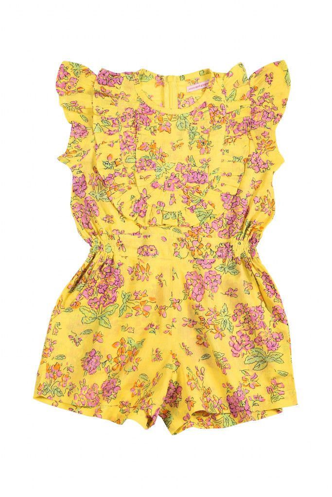 Coco & Ginger - Er  Baby Peony Playsuit Yellow Greek Meadow