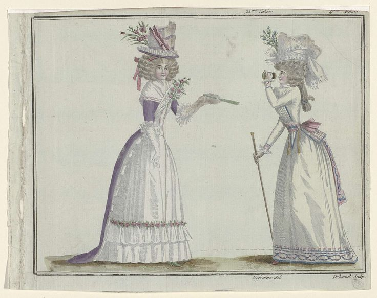Magasin des Modes Nouvelles Françaises et Anglaises, 1 juillet 1789, Pl.  2 en 3, A.B. Duhamel, Buisson, 1789.