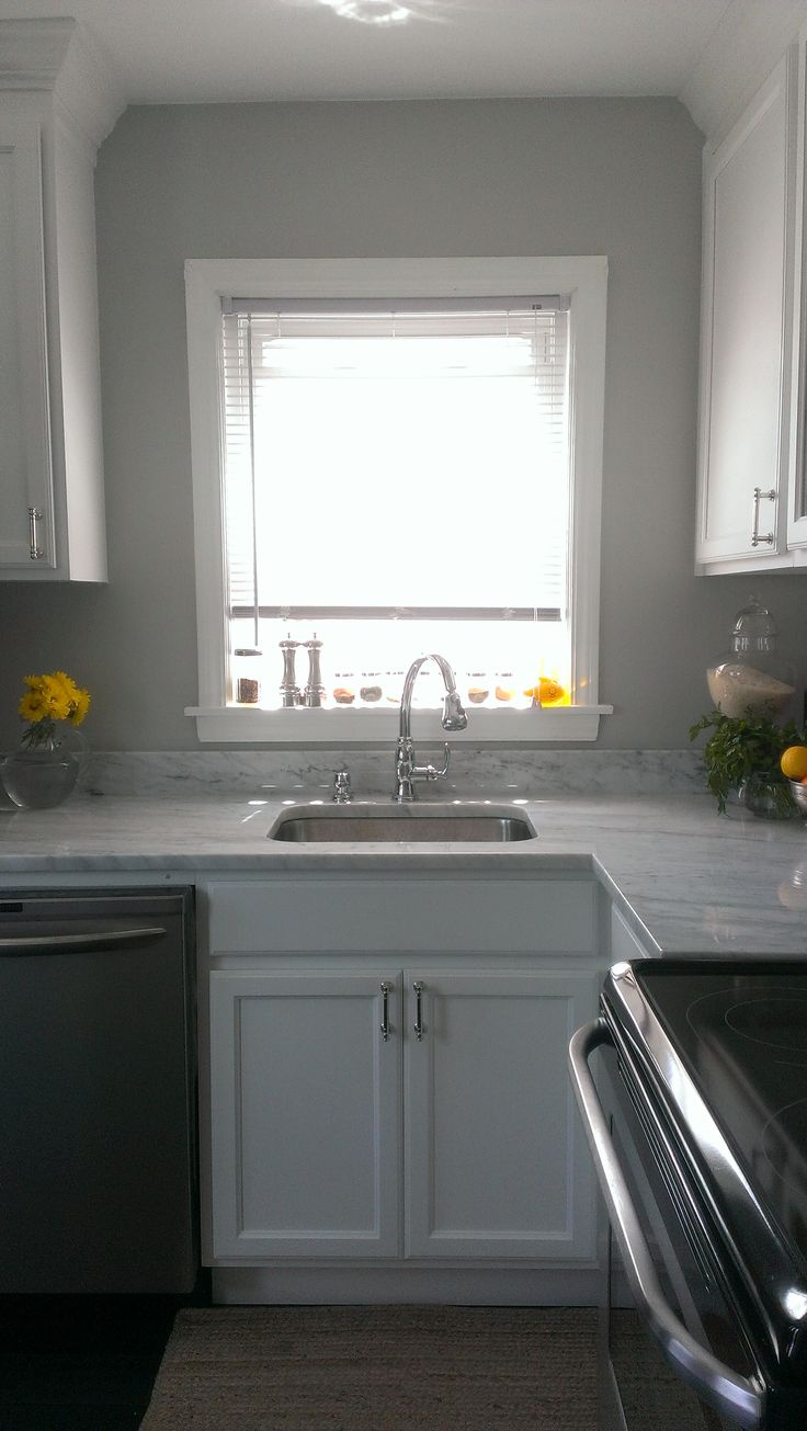 Gray Wall White Cabinets Deep Undermount Sink Carrara