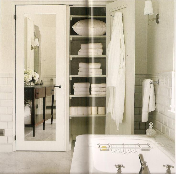 Like Two Mirrored Closet Doors, One Closet As Linen Storage