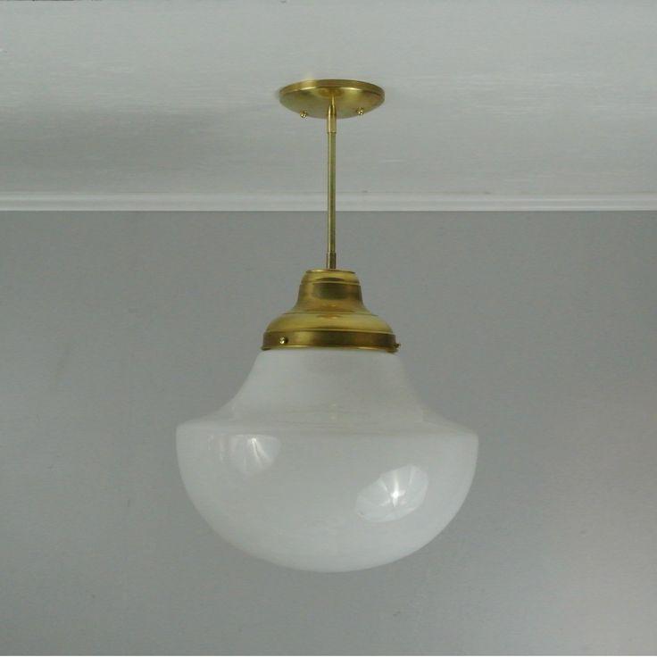 Vintage dome glass pendant light w brass hardware