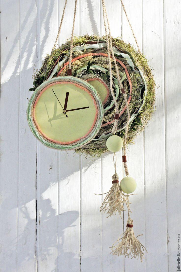 Купить Настенные часы Эко - хаки, зеленый, природа, оригинальные часы, украшение дома