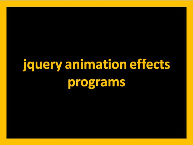 jquery animation effects programs