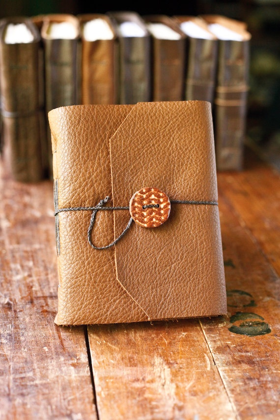 Leather Journal with Handmade Ceramic Button | wayfaringart on Etsy, $36