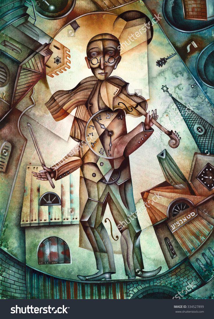 A Jewish Fiddler Is Playing Violin by Eugene Ivanov. #eugeneivanov #klezmer #musician #jewish #jew #@eugene_1_ivanov