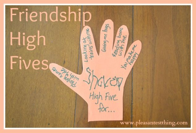 "Now that school is out and my 4 year old doesn't see his friends 3 days a week, we wanted to  let his friends know he's thinking about them.  Little kids love getting mail, so we created paper ""High Fives"" to send to a few friends, using construction paper handprints. …"