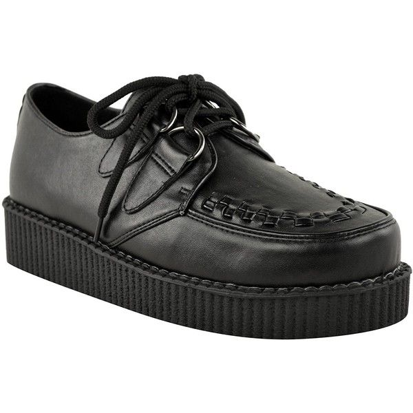 Fashion Thirsty Womens Creeper Goth Punk Platform Lace Up Shoes Flat... ($21) ❤ liked on Polyvore featuring shoes, flat lace-up shoes, wide shoes, wide width platform shoes, platform lace up shoes and wide flat shoes