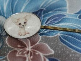 TITIRI Handmade hair pin with a custom drawing under the glass cabochon- a fennec fox (aquarell pencils)