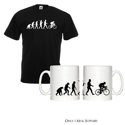 Evolution of cyclist mens #black t-shirt & mug tour de france #cycling #sport new,  View more on the LINK: http://www.zeppy.io/product/gb/2/251696938637/