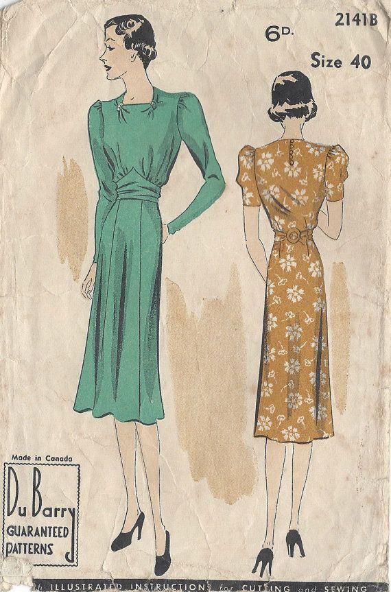 """jaren 1930 vintage naaien patroon B40 """"jurk (R723) door Du Barry 2141B"""