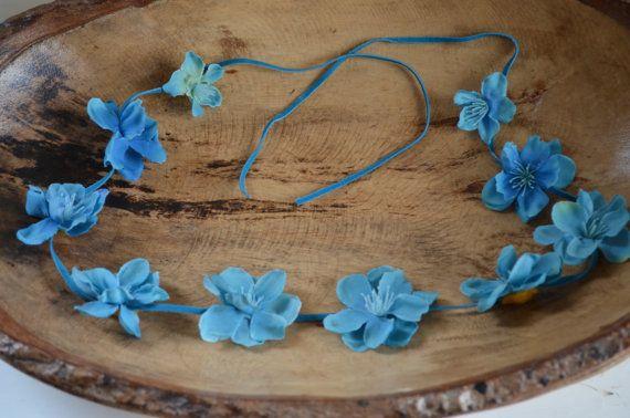 Mermaid Blue Boho Flower Tie Back-Fits All by lovespuncreationsJL