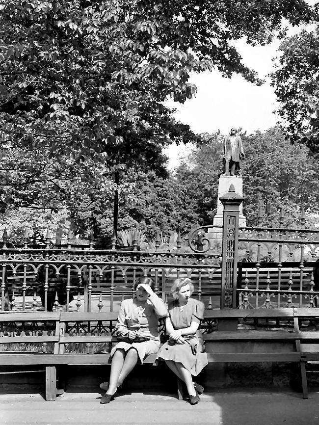Taking a break at Franklin Square 1940.