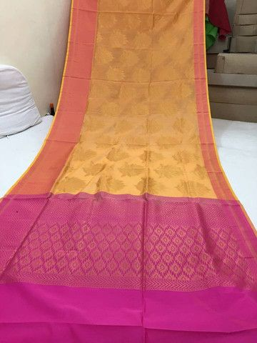 Yellow and pink pure chanderi silk saree