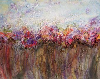 Fiori astratti pittura tela arte originale pittura pittura a