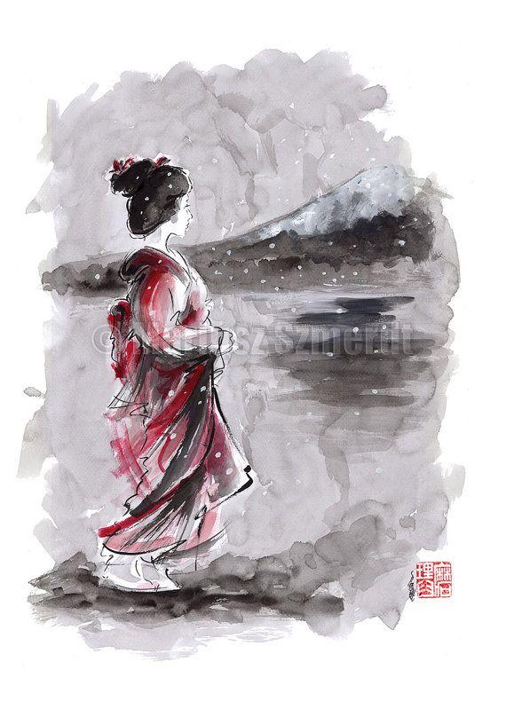 Geisha Painting Japanese Art Watercolor Artwork Japan ...