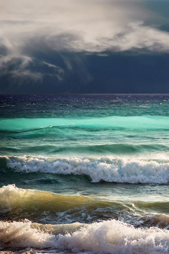 The colors of the waves as a storm rolls in...