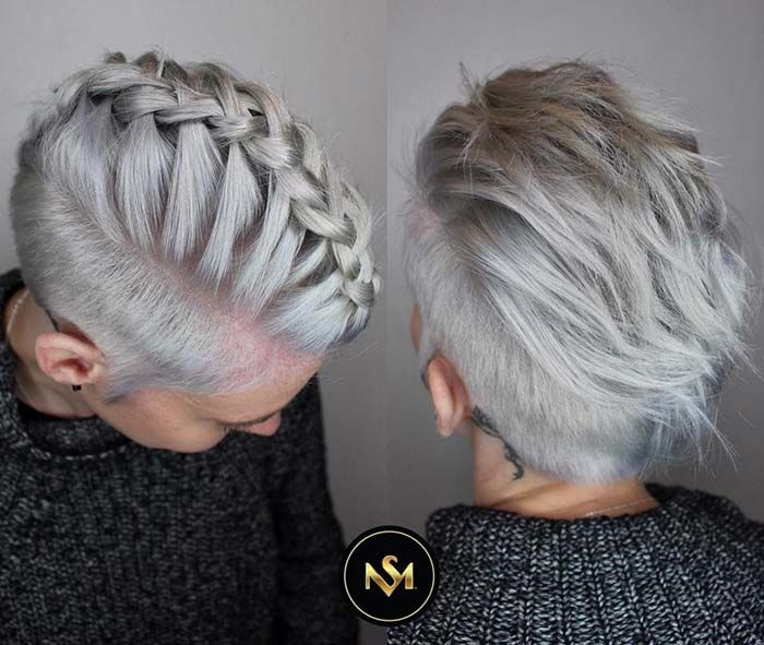 Short Hairstyles for Women with Thin/ Fine Hair: Braided Pixie  #thinhair shorthairstyles #finehair