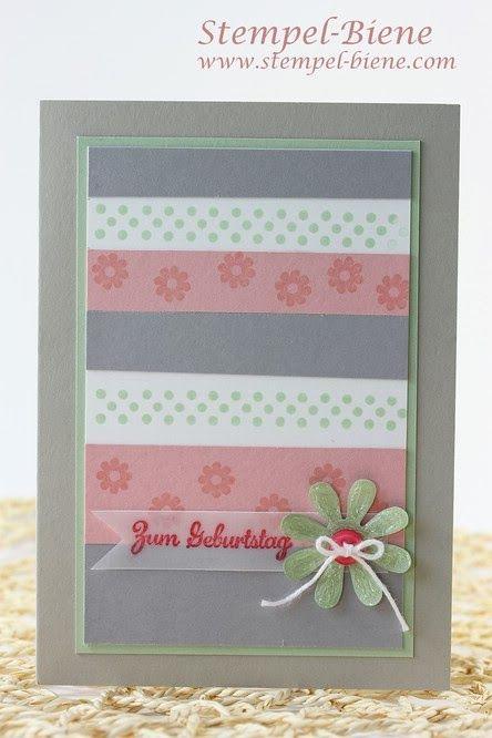 Stampin Up In Worte gefasst, Geburtstagskarte basteln, Frühlingshafte Geburtstagkarte, Originals Blüten, Sale-a-bration 2014 Fähnchenfieber,...