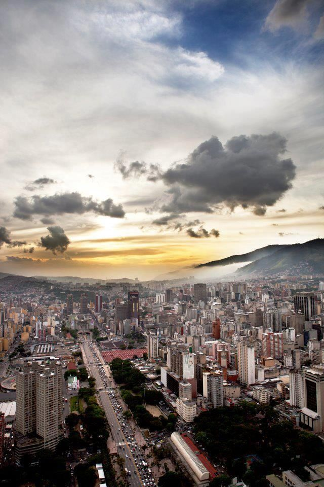 Sunset of Caracas, in the back is the Avila National Park.