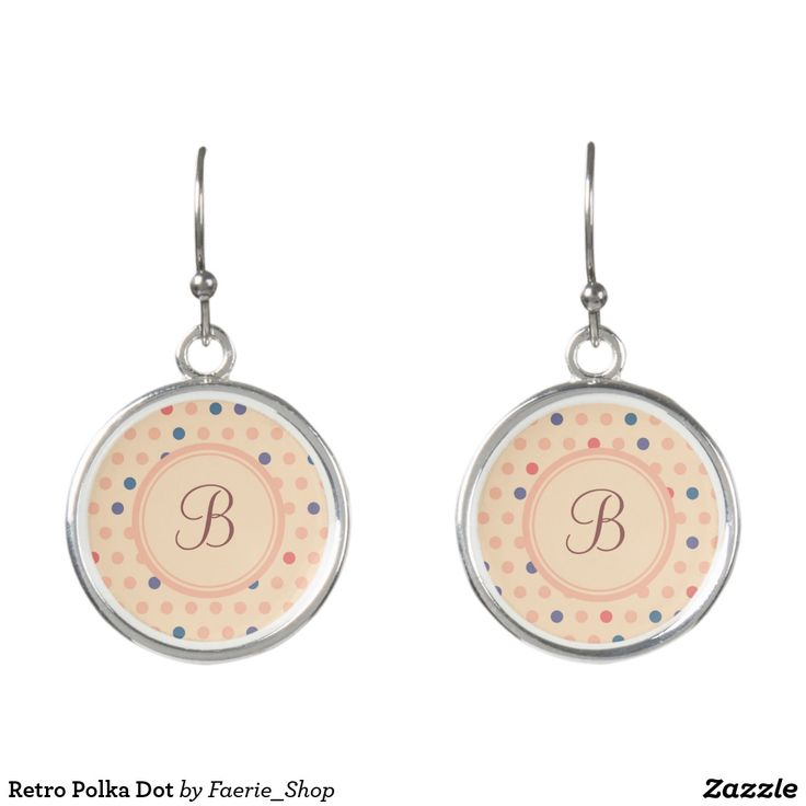 Retro Polka Dot Earrings #faerieshop #vintage #circle #polka #dot #trendy #pattern #retro #monogram #geometric #monogram #style #simple #abstract #old #design #beige #peach #red #blue #beautiful #fashion #modern #print #background #sale #zazzle #monogram #edit #customizable #gift #present #earrings