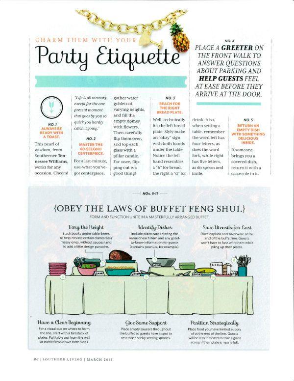 Ettiquette | how to proper set a buffet | Party Etiquette www.cvlinens.com