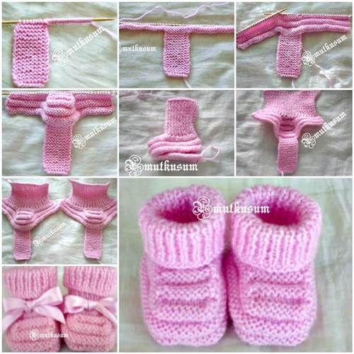 DIY adorables de punto botines del bebé 3