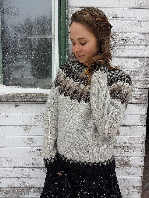 MADE TO ORDER Woodland Icelandic Sweater made with ash and an original yoke design of black, beige and oatmeal. Hand knit with aran weight 100%