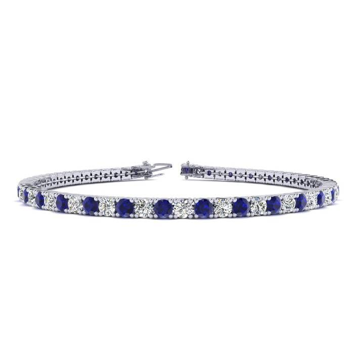 8 5 Inch 5 1 2 Carat Sapphire And Diamond Tennis Bracelet In 14k White Gold With Images Tennis Bracelet Diamond Tanzanite Bracelet Sapphire Bracelet