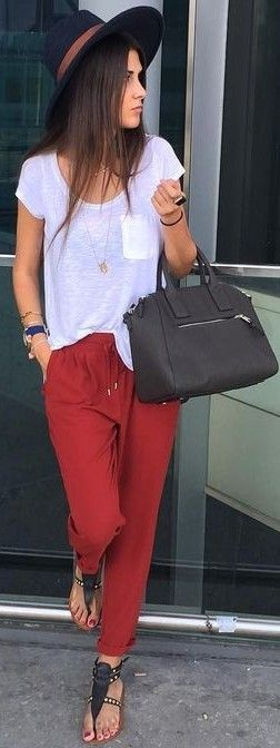 White Tee + Red Joggers                                                                             Source