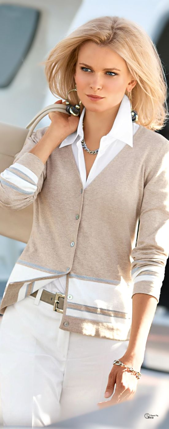 I like the color-blocking on this cardigan, especially because it doesn't take over. Also like the v-neck and the simple, subtle buttons.