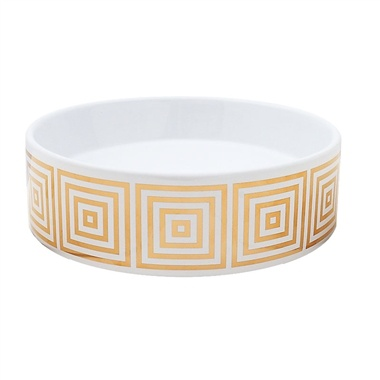 Photo Image Big Squares design sink in gold painted on a petite white vessel sink by