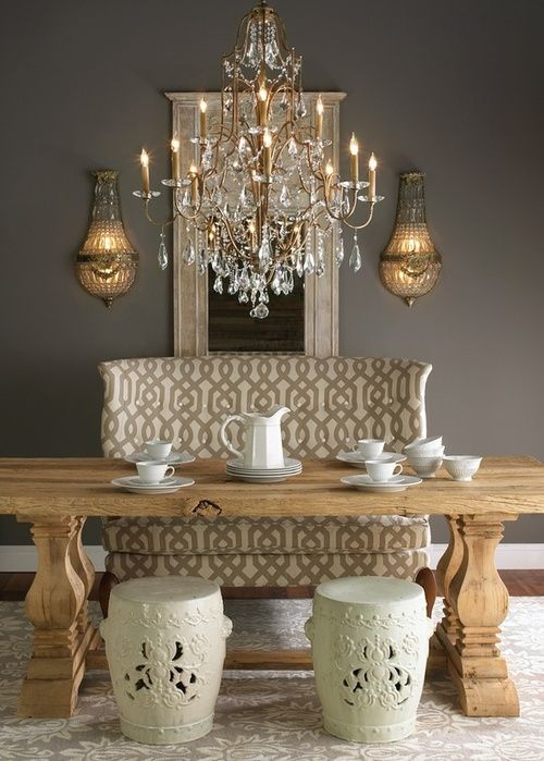 Get the look: Antoinette Crystal Wall Sconces flanking Mirror over buffet in dining room. Gray Walls create perfect canvas!
