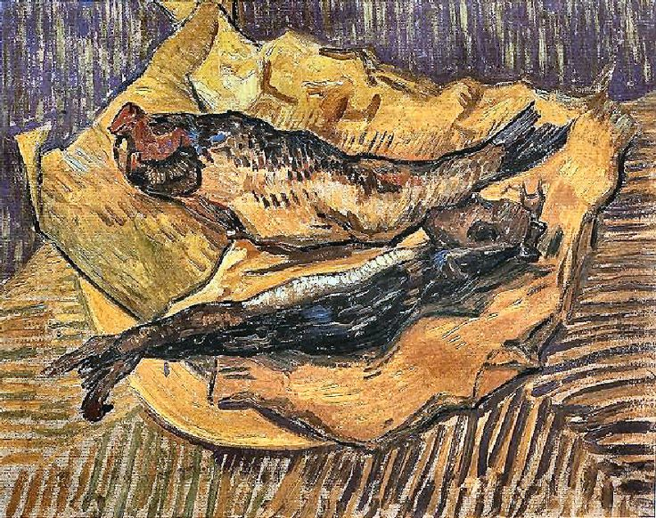 Still Life with Bloaters on a Piece of Yellow Paper. 1889. Oil on canvas.