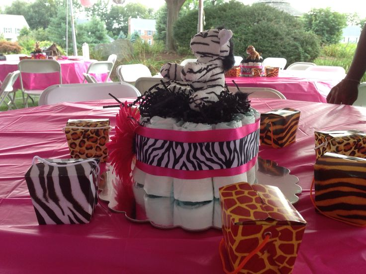 Girl Safari Baby Shower Diaper Cakes. Stuffed Animals From Oriental Trading.