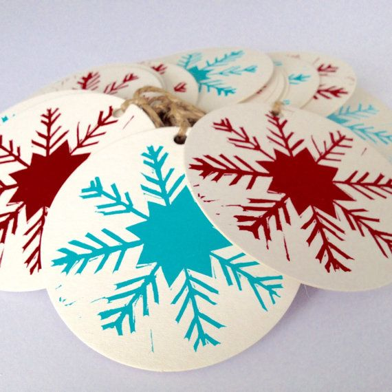 Christmas snowflake linocut/ letterpress bunting