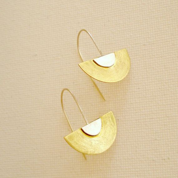 Mixed Metal Brass and Sterling Silver dangle by PenelopeStudio, €24.00
