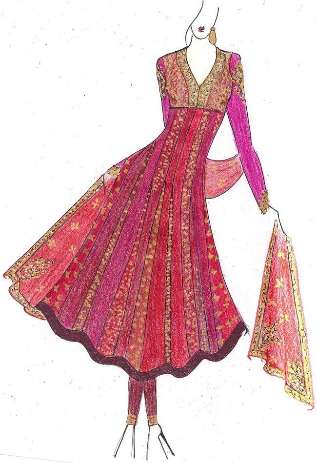 Indian salwar dress design sketches
