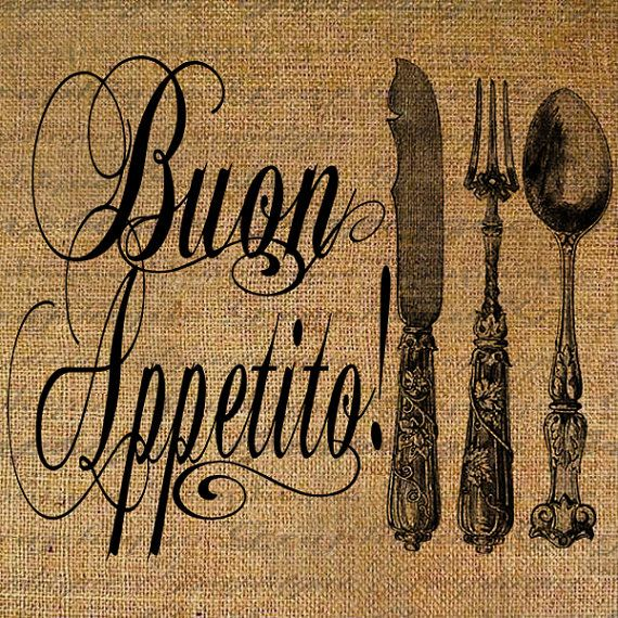Buon Appetito Italian Quote Bon Appetite Fork Knife by Graphique, $1.00