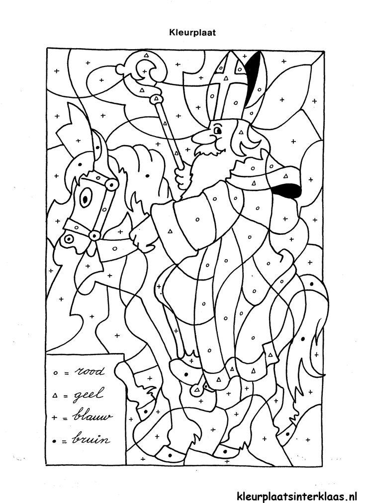 Een kleurplaat van Sinterklaas met kleurvakjes voor kinderen van 5 of 6. Zoek de tekens en de kleuren, dan snap je vast wel wat er moet gebeuren!