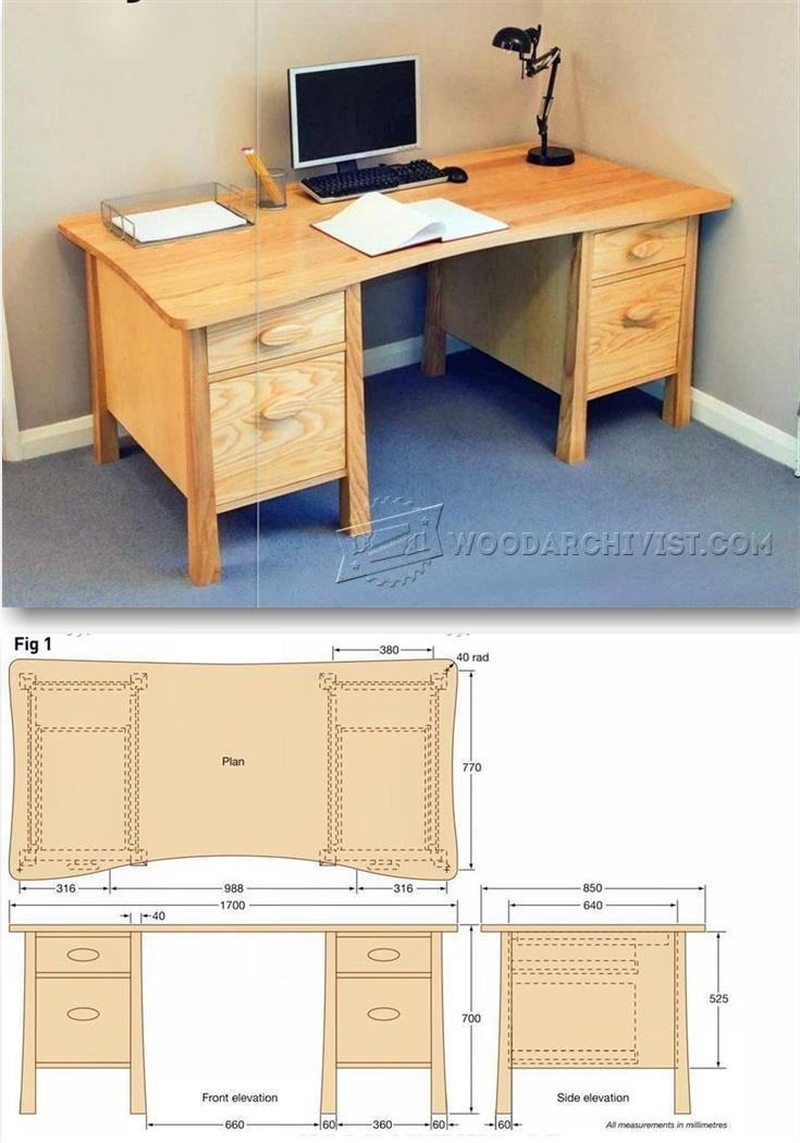 Twin Pedestal Desk Plans - Furniture Plans and Projects | WoodArchivist.com