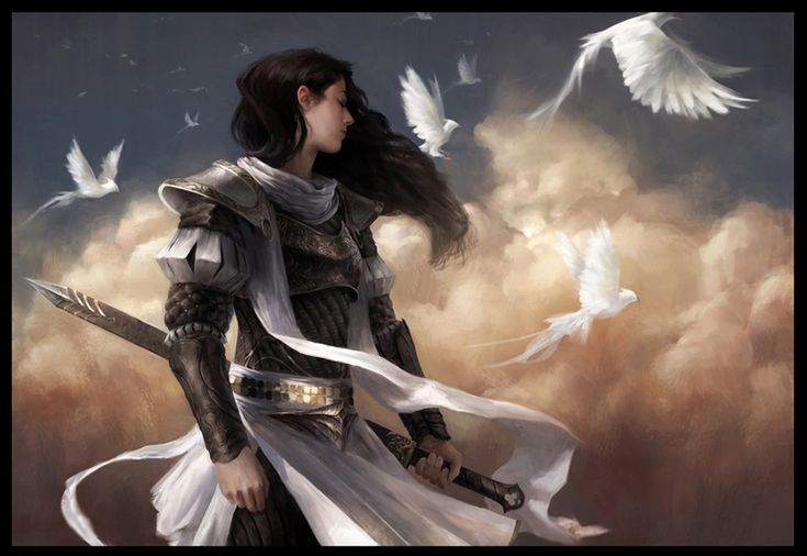 Birds by TFsean [fighter, paladin]. Modest and stylish and practical. Full marks, excellent fantasy woman art
