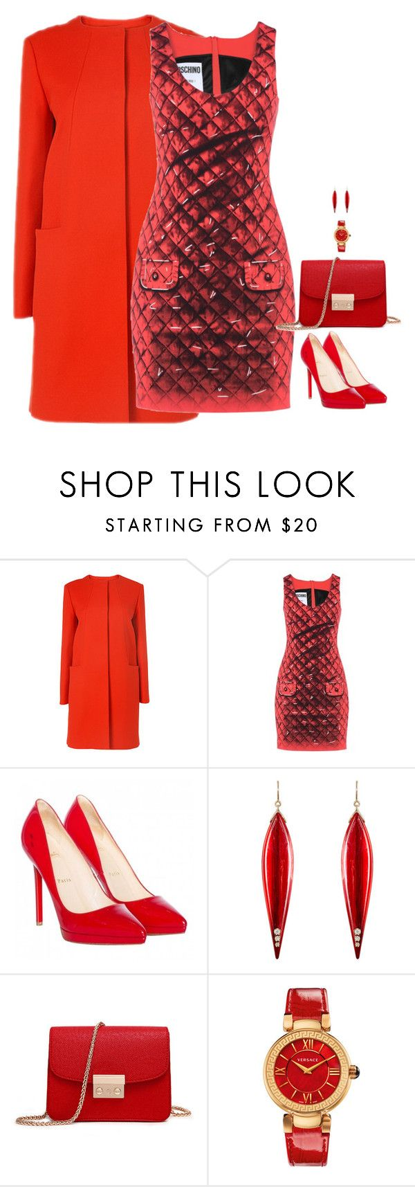 """Untitled #5752"" by miki006 ❤ liked on Polyvore featuring Moschino, Christian Louboutin, Mark Davis and Versace"