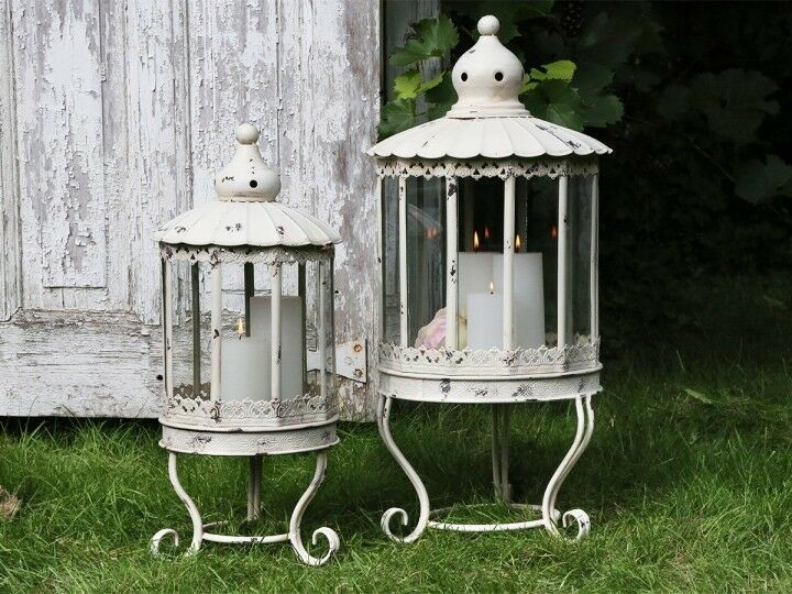 Chic Antique Laterne Metall Weiss Shabby Vintage Landhaus Nostalgie Garten 2 Gr Wohnwelten Shop De Metall Laterne Shabby Laterne
