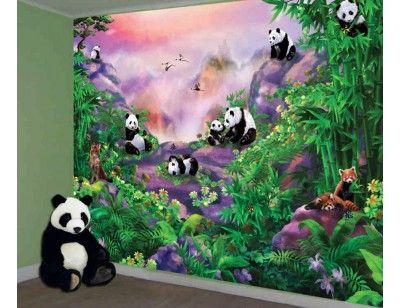 """""""Pandas"""". A wallpaper mural from Muralunique.com. This is an original artwork from Birgit Schulz. https://www.muralunique.com/pandas-105-x-8-320m-x-244m.html"""