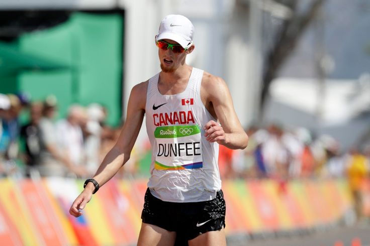 Evan Dunfee, of Canada, finished fourth in the men's 50-km race walk at the 2016 Summer Olympics in Rio de Janeiro, Brazil, Friday, Aug. 19, 2016. (AP Photo/Robert F. Bukaty)